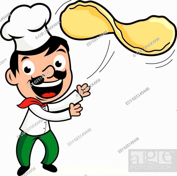 Stock Vector: Chef throwing pizza dough.