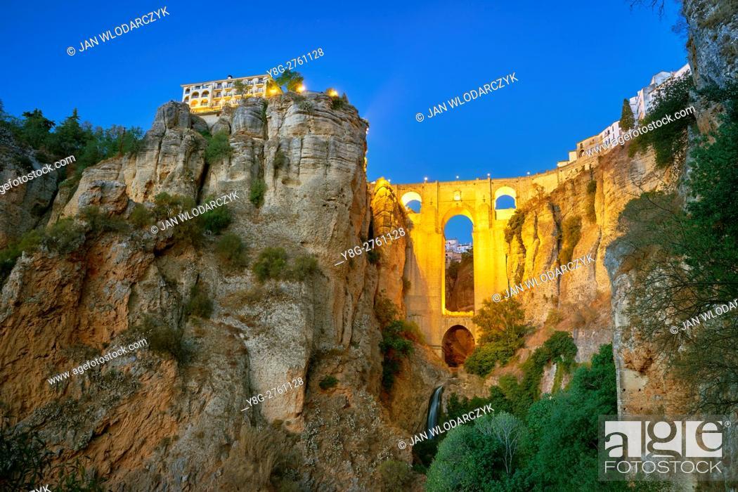 Stock Photo: El Tajo Gorge Canyon, Ronda, Andalusia, Spain.