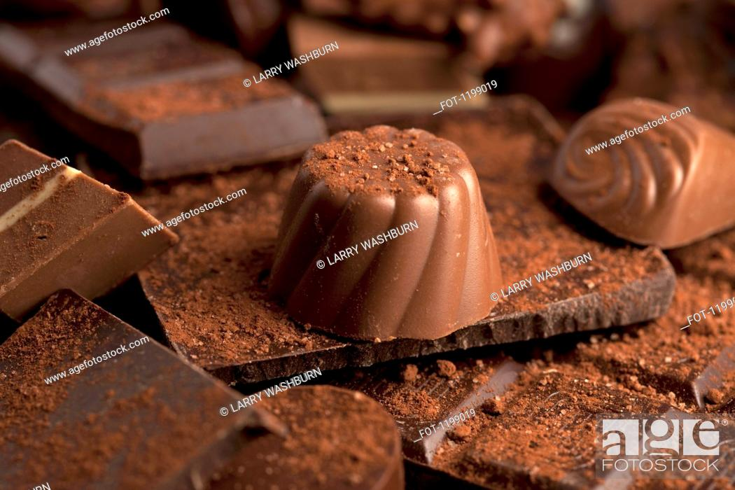 Stock Photo: Detail of a pile of chocolates.