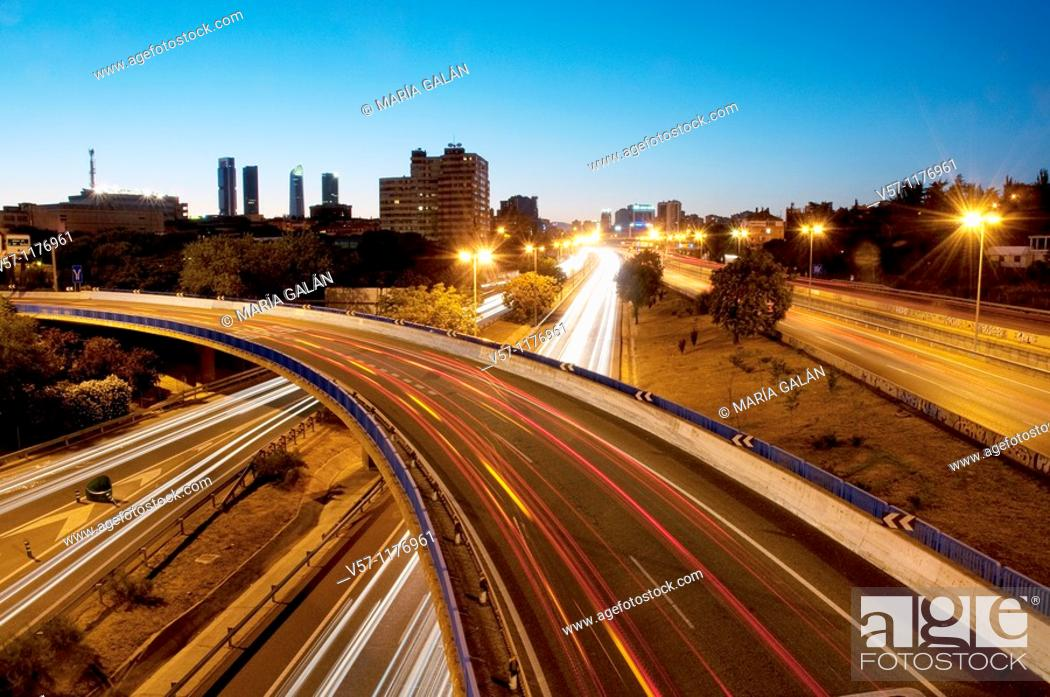 Stock Photo: M-30 motorway, night view. Madrid, Spain.