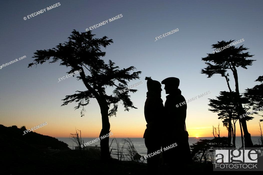 Stock Photo: Lovers in the night sky.