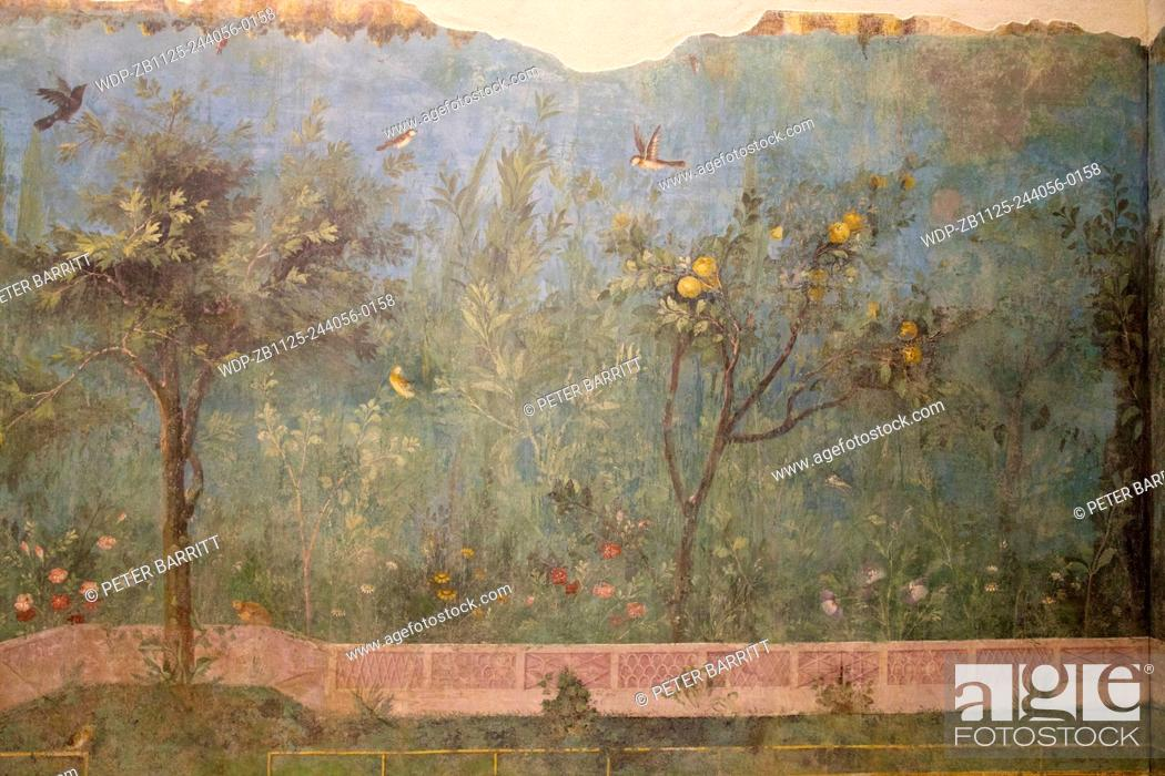 Stock Photo: Painted Garden of the Villa of Livia, 20-30 BC, with birds and apple trees, Palazzo Massimo alle Terme, National Museum of Rome, Italy.