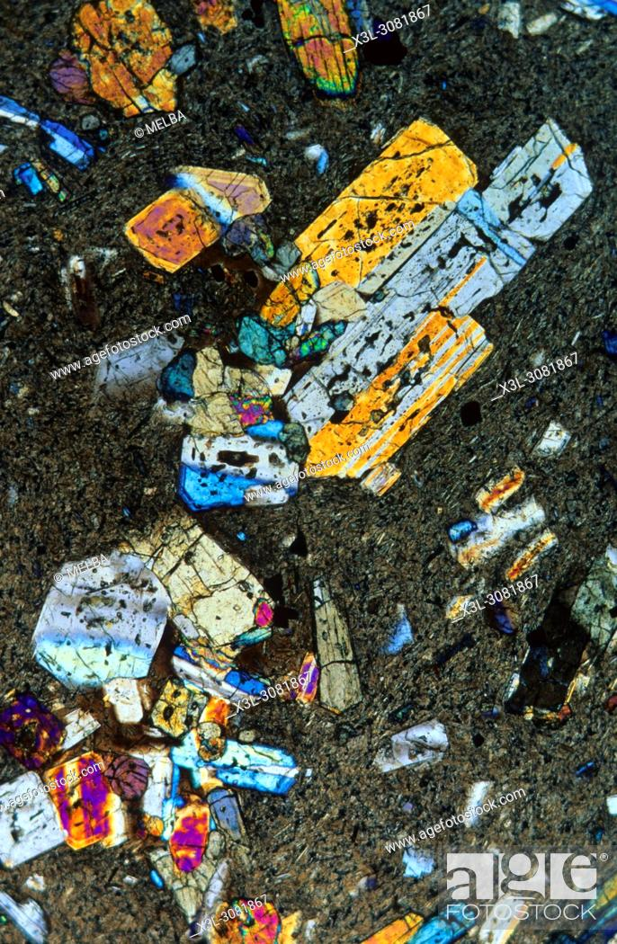 Stock Photo: Basalt. Igneous rocks. Petrographic microscope.