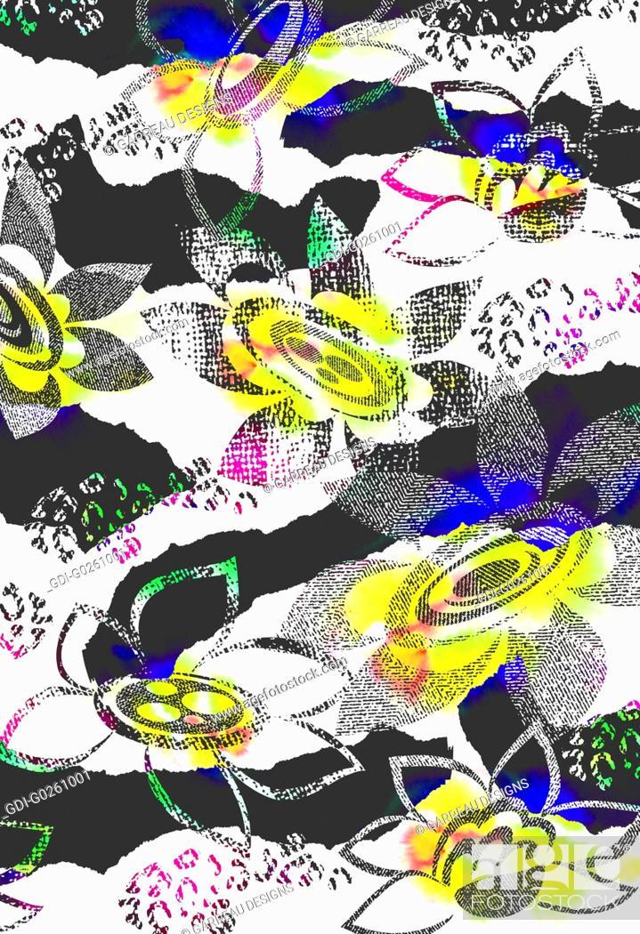 Stock Photo: Flower design over zebra stripes.