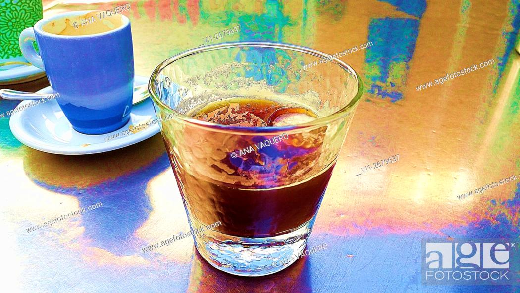 Stock Photo: Coffee with ice, Summer refreshment, miajadas, Cáceres, Extremadura, Spain.