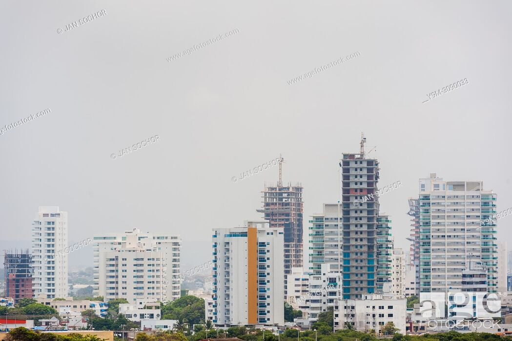Stock Photo: Newly constructed apartment buildings are seen on Bahía de Manga's skyline in Cartagena, Colombia, 15 April 2018. With the peace agreement.