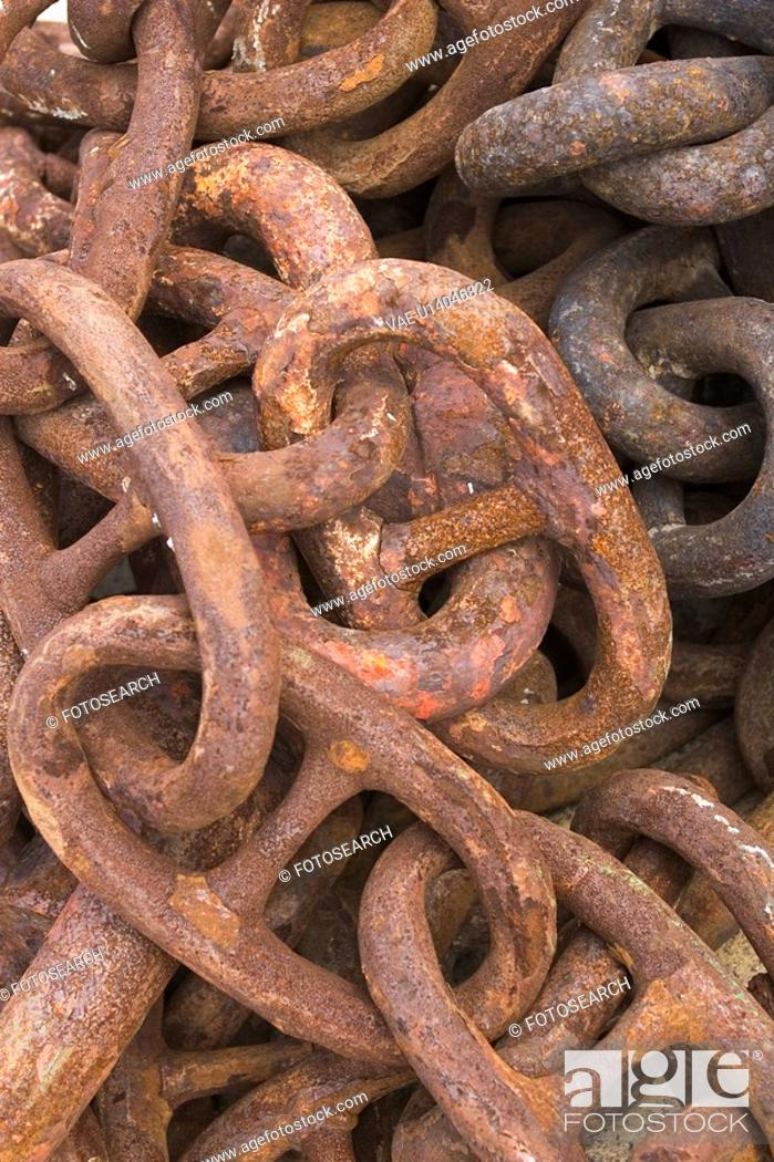 Stock Photo: Chain, Link, Heap, Close-Up, Attached.
