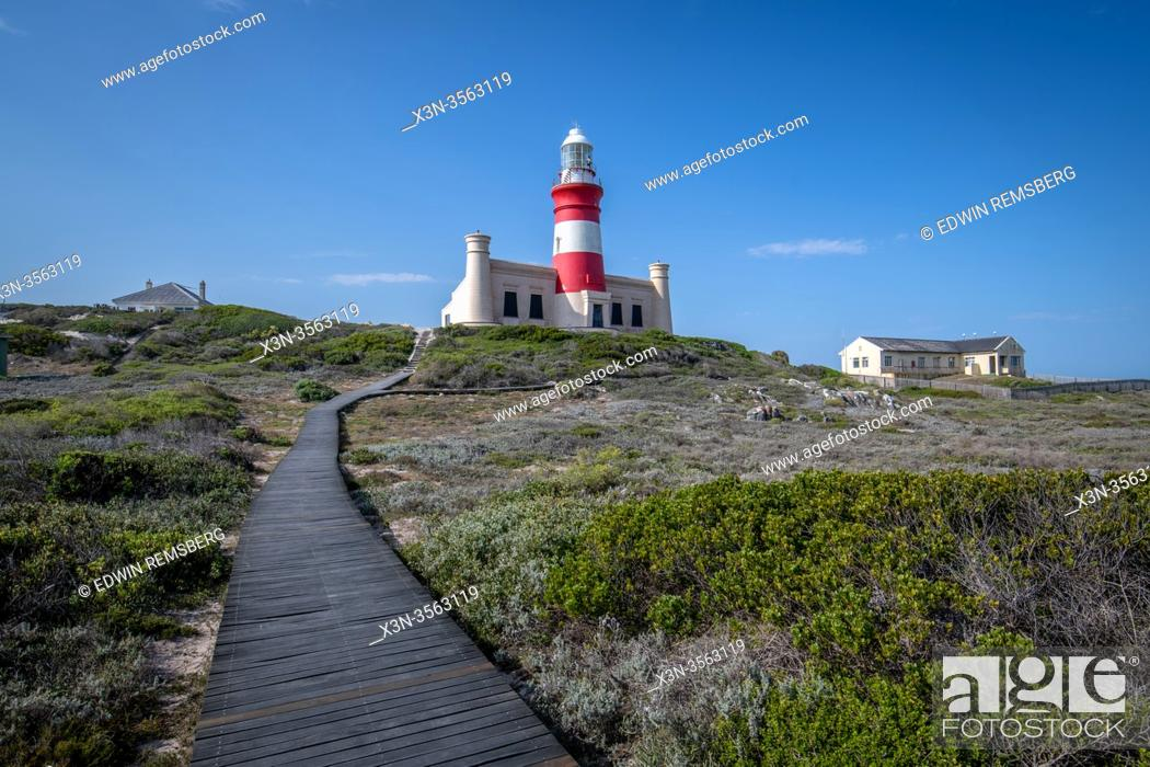 Stock Photo: Cape Agulhas, the geographic southern tip of the African continent and the beginning of the dividing line between the Atlantic and Indian Oceans, South Africa.