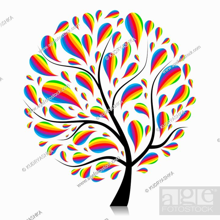 Stock Vector: Art tree beautiful for your design.