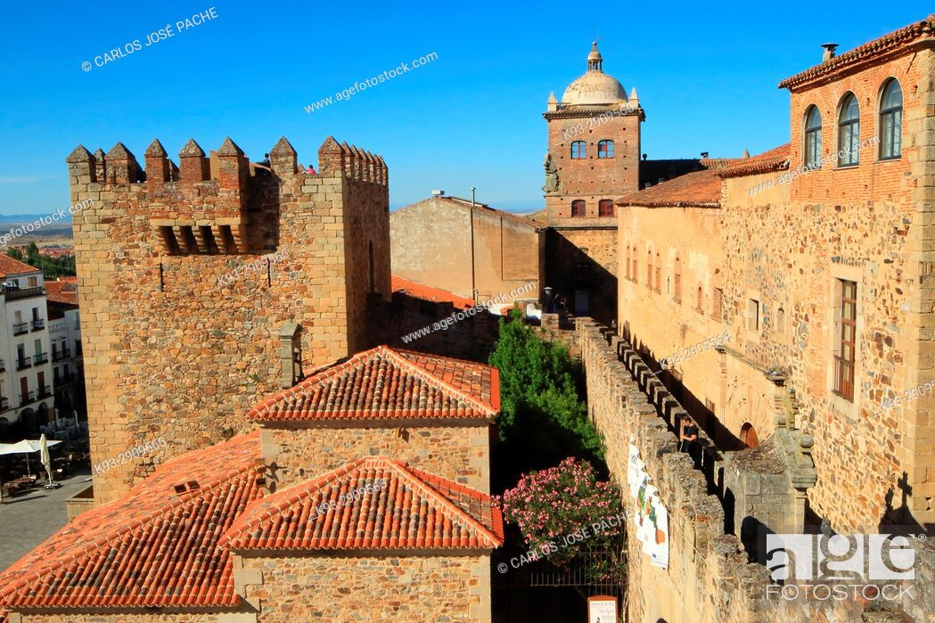 Stock Photo: City Wall, Episcopal Palace and Bujaco Tower in the old town of Caceres, Extremadura, Spain.