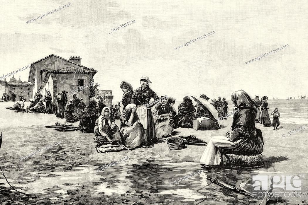 Stock Photo: Women waiting for the arrival of fishing boats with sardines to sell, late 19th century, Spain. Old XIX century engraved illustration from La Ilustracion.
