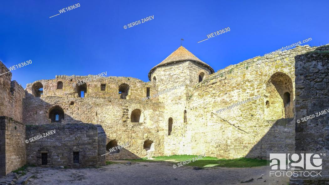 Stock Photo: Akkerman, Ukraine - 03. 23. 2019. Panoramic view of the Fortress walls and towers from the inside of the Akkerman Citadel.