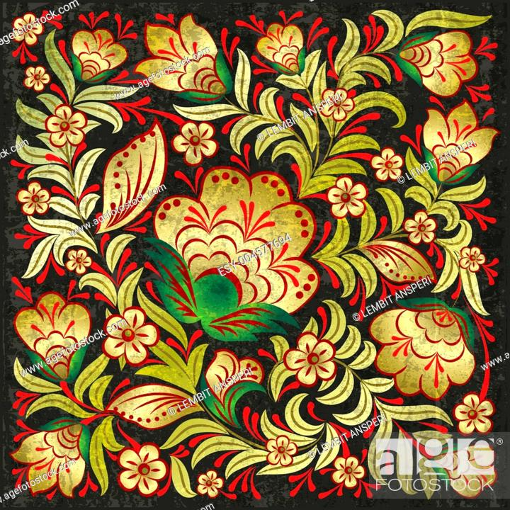 Stock Photo: abctract grunge background with floral ornament.