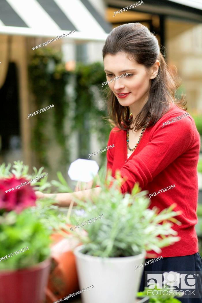 Stock Photo: Woman looking at flowers in a flower shop.