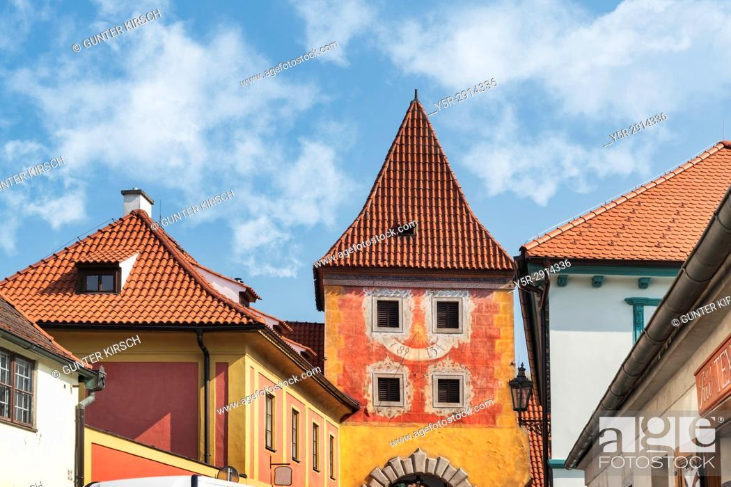Stock Photo: The Budejovicka gate was built from 1598 to 1602. It is a city gate still preserved today in the town of Cesky Krumlov on the Vltava in Bohemia, Jihocesky kraj.