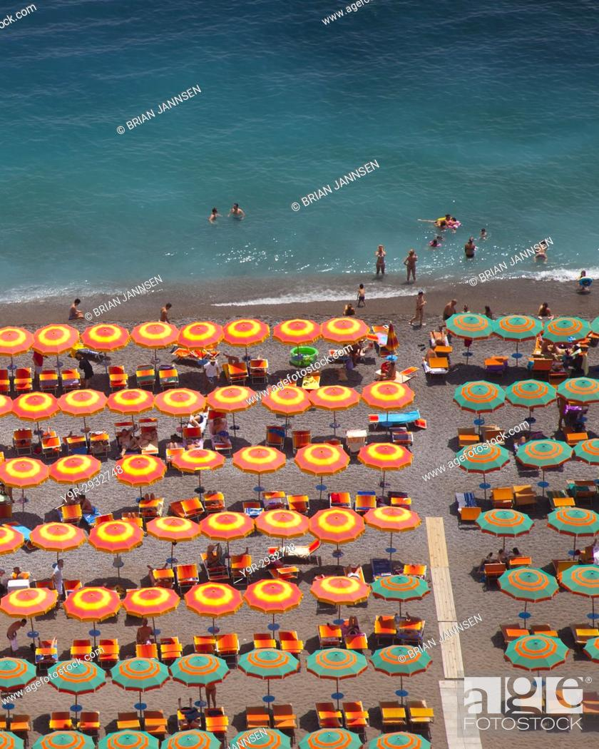 Stock Photo: Colorful beach umbrellas in Positano - along the Amalfi Coast, Campania Italy.