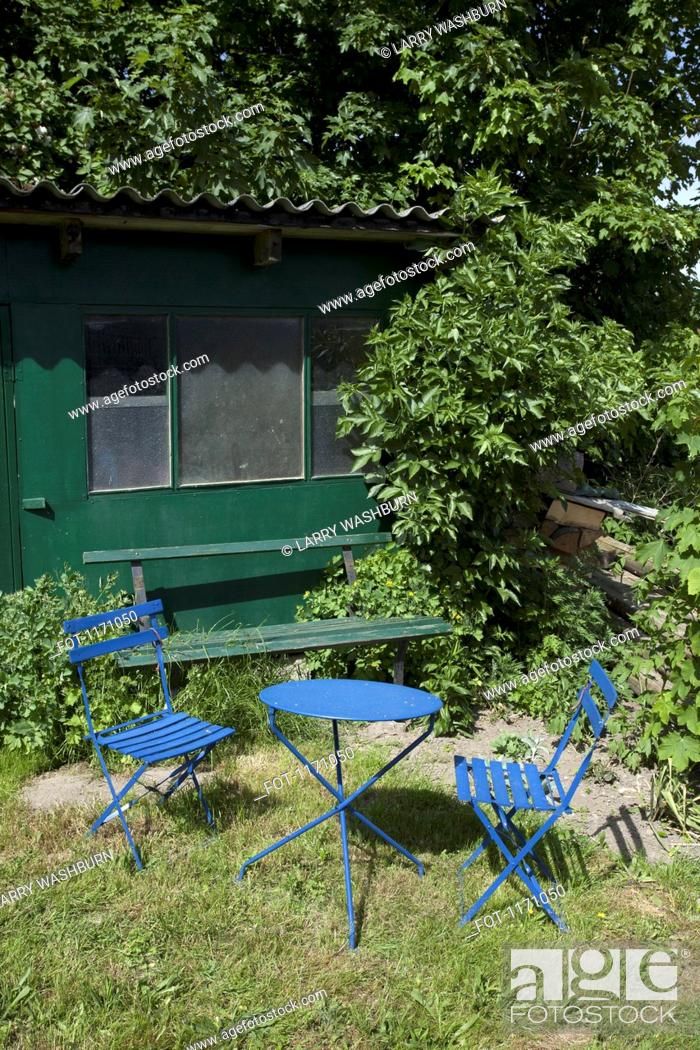 Stock Photo: Outdoor furniture in the garden of a summer cottage.