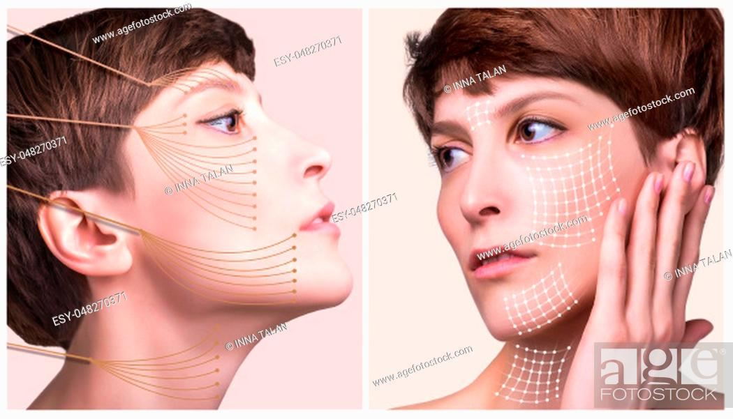 Stock Photo: The lifting, skin, plastic surgery concept. Woman face with marks and arrows. Portrait of young caucasian woman at studio isolated on pastel.