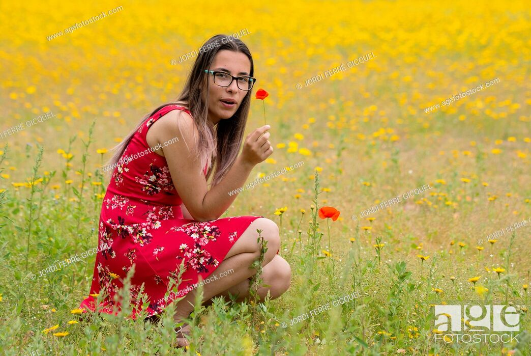 Stock Photo: Girl with a red dress picking up flowers in a yellow field.