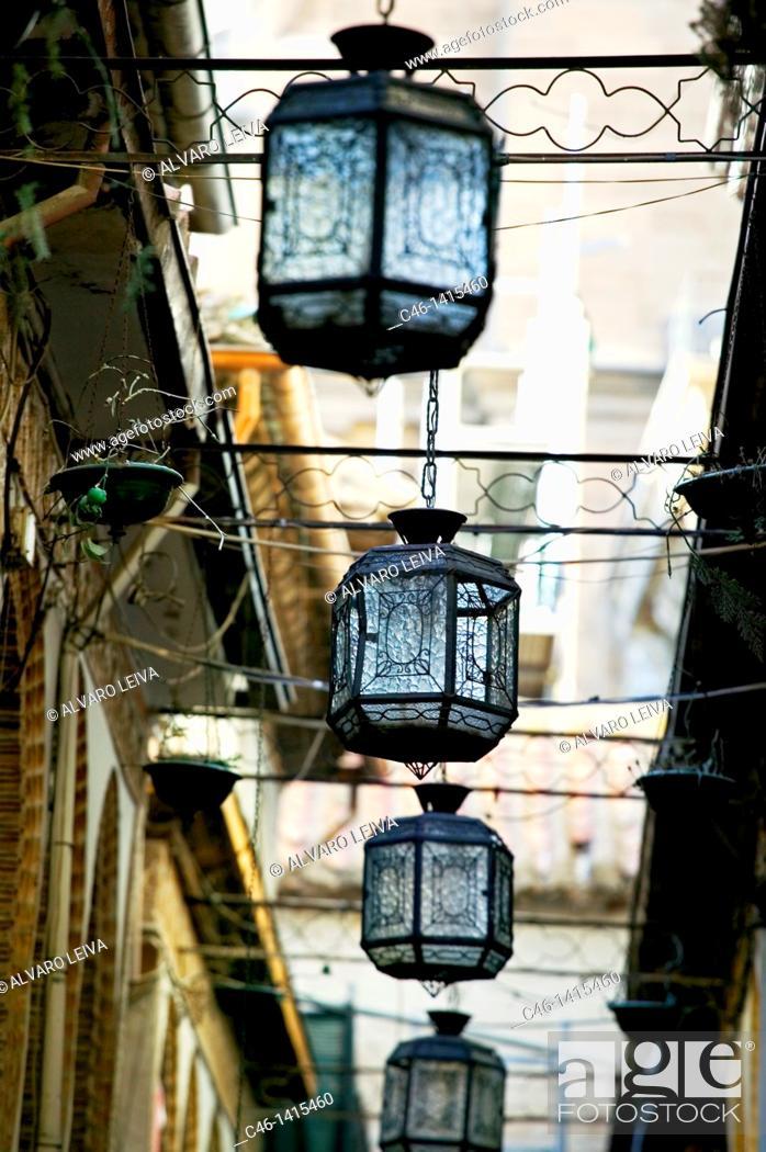 Stock Photo: Pedestrian street in the center of Granada  Granada  Andalusia, Spain.