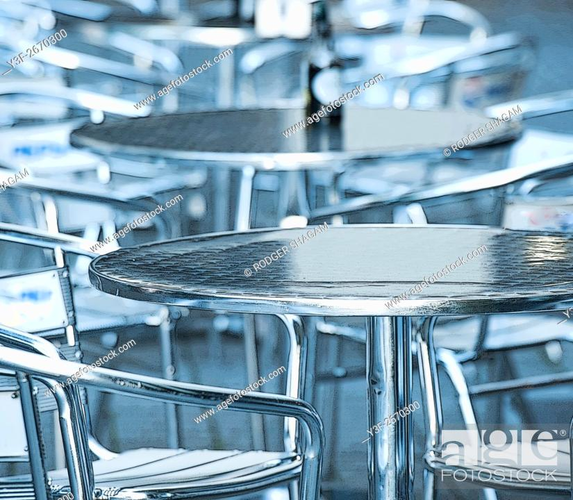 Stock Photo: Empty tables at an outdoor eatery. Cape Town, South Africa.