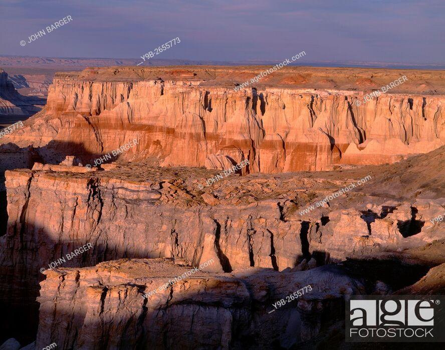 Stock Photo: USA, Arizona, Coconino County, Moenkopi Plateau, Evening light defines eroded sandstone formations.