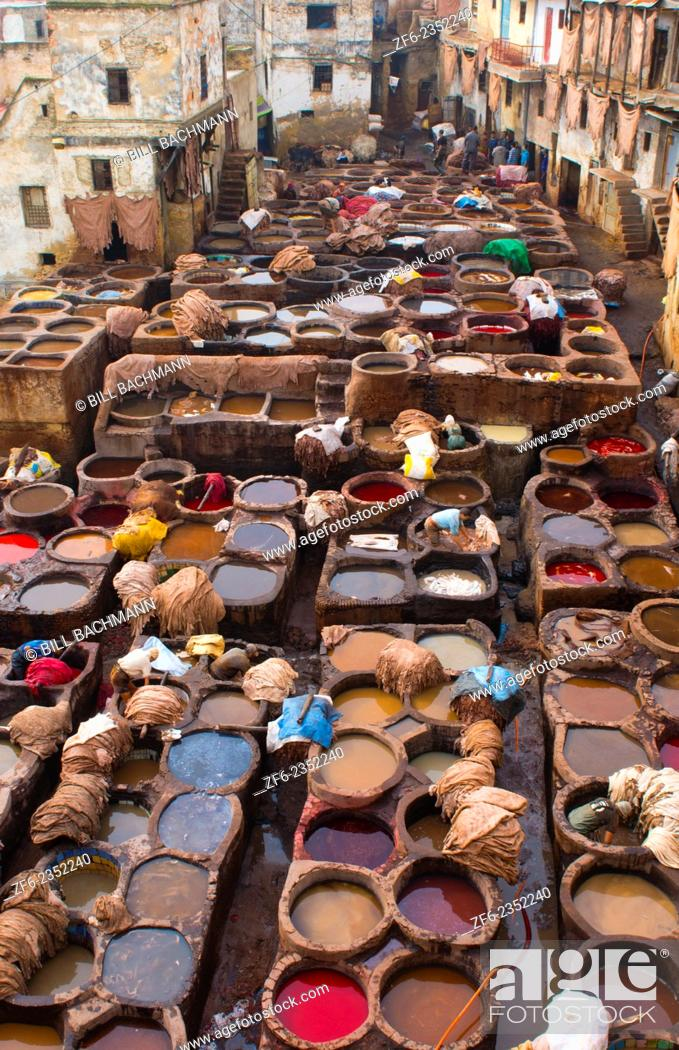 Photo de stock: Fez Morocco old Tannery called Chouara Tannery which is almost 1000 years old from above of tannery vats with color dyes.