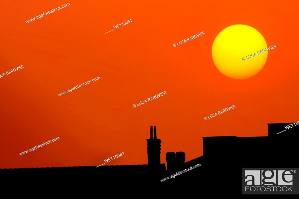 Stock Photo: Sunset in Milan Italy, Parco delle cave.