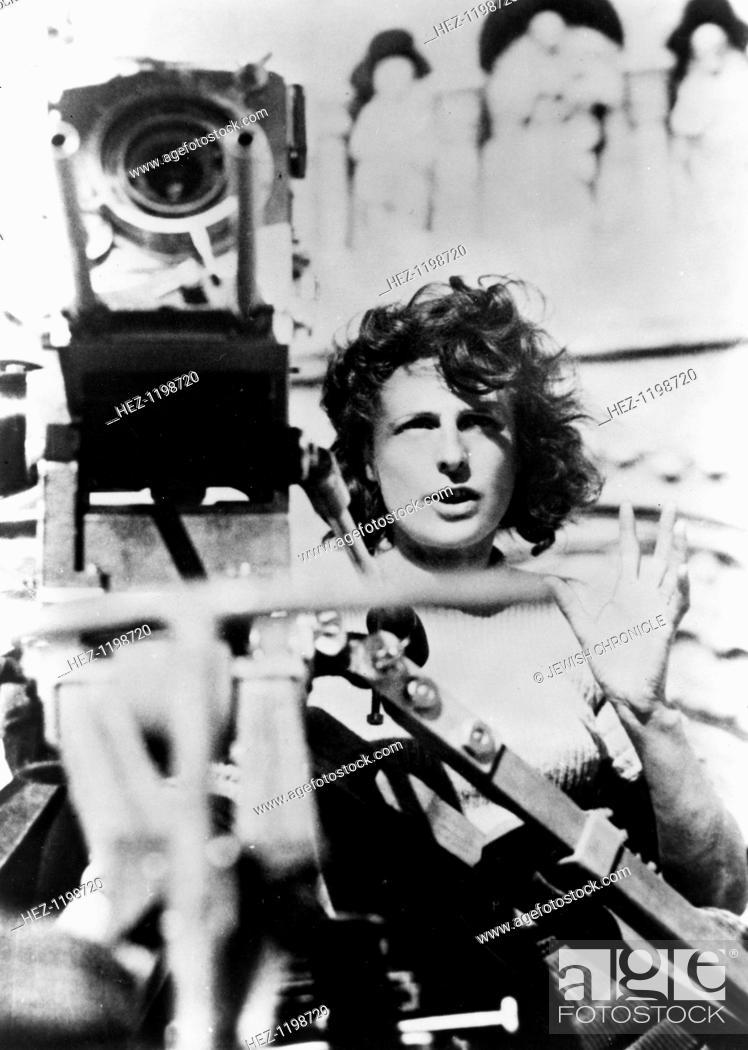 Stock Photo: Leni Reifenstahl (1902-2003), German Film maker, behind the camera. Was hired by Hitler to make Nazi propaganda films.