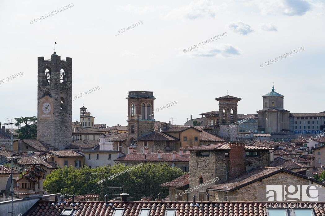 Stock Photo: The Upper Town of Bergamo seen from the Fortress, Bergamo, Lombardia, Italy, Europe.
