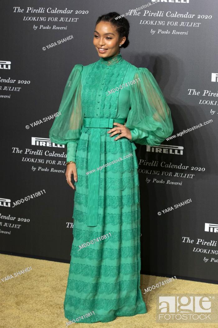 Stock Photo: American actress Yara Shahidi during the presentation of the Pirelli 2020 Calendar at the Verona Philharmonic Theater. Verona (Italy), December 3rd, 2019.