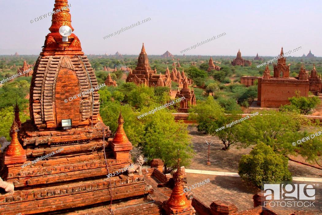 Stock Photo: Bagan, temples, general aerial view of pagoda in Bagan, Myanmar, Burma.