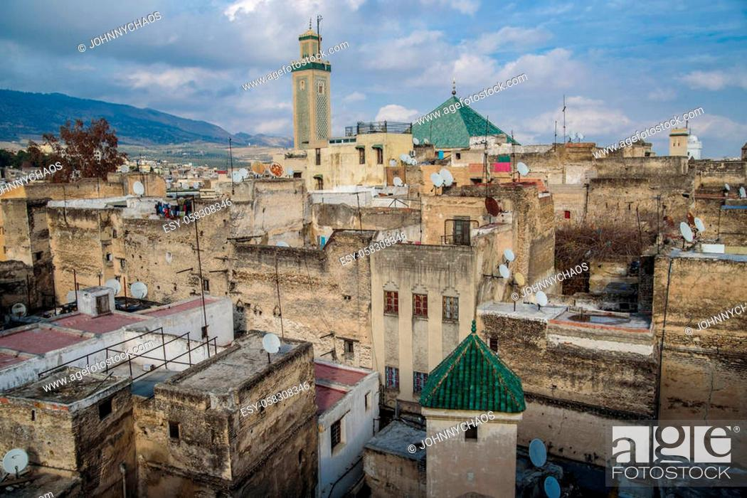 Stock Photo: View of the old town of Fez, Morocco, North Africa.