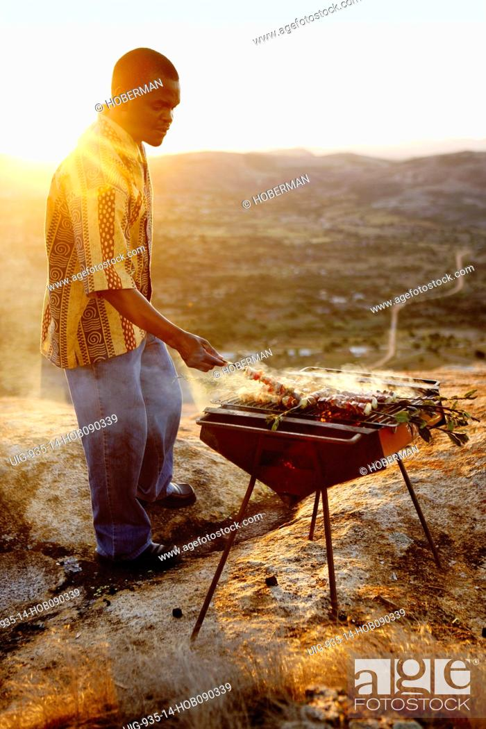 Stock Photo: Lamb Kebabs on Barbeque.