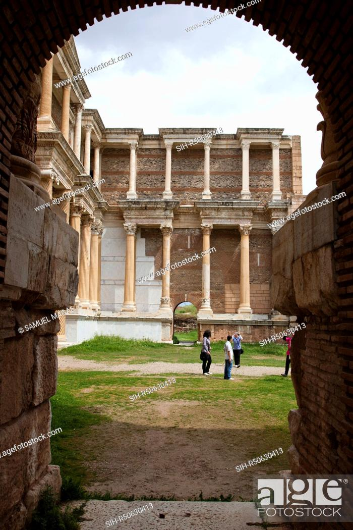Stock Photo: The gymnasium was constructed in at the 3rd century AD, in the times of Geta and Caracalla. It was a part of a complex divided into three main sections: the.