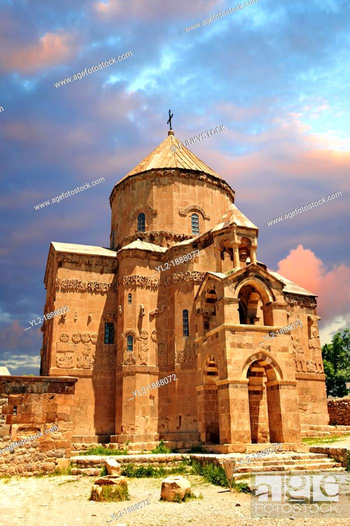 Stock Photo: 10th century Armenian Orthodox Cathedral of the Holy Cross on Akdamar Island, Lake Van Turkey 66.