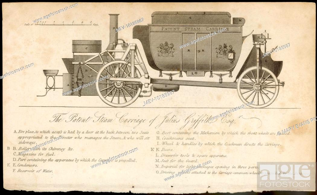 Stock Photo: The patent steam carriage of Julius Griffith, a road locomotive which was effective in practise, but had little success due to a backlash from the horse-powered.