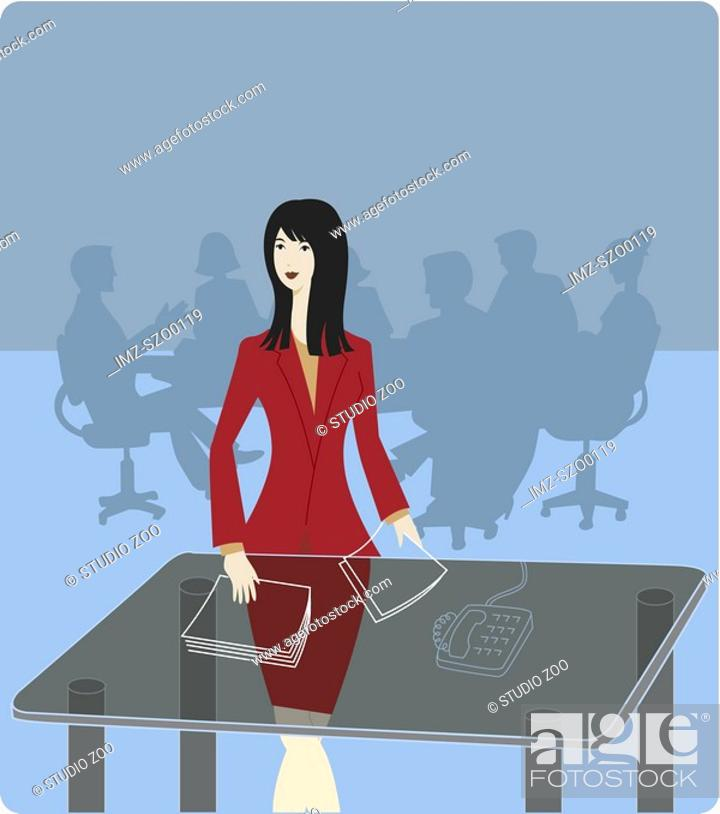 Stock Photo: Businesswoman preparing for a board meeting.