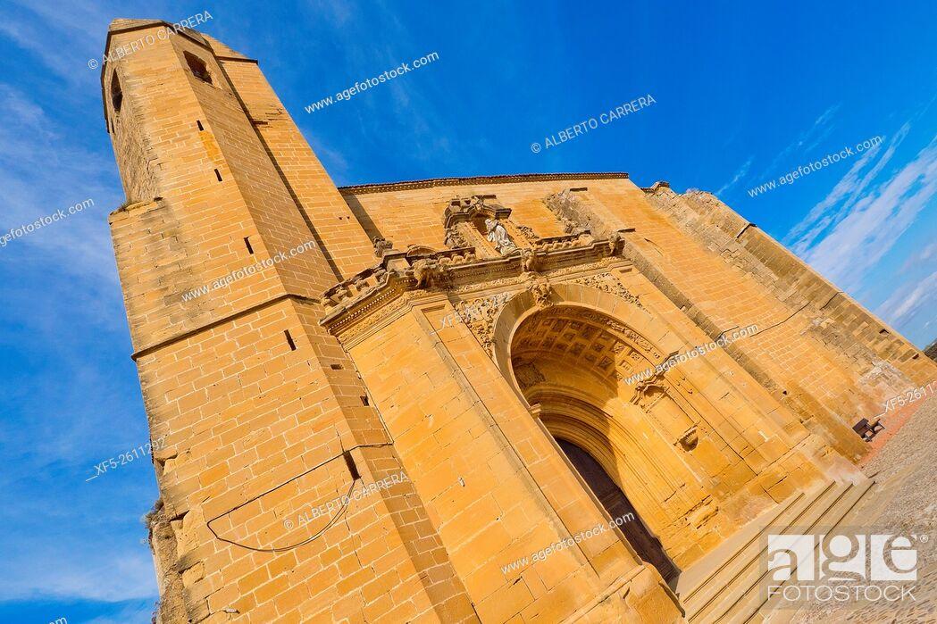Stock Photo: Church-Fortress Santa María la Mayor, National Monument, San Vicente de la Sonsierra, La Rioja, Spain, Europe.