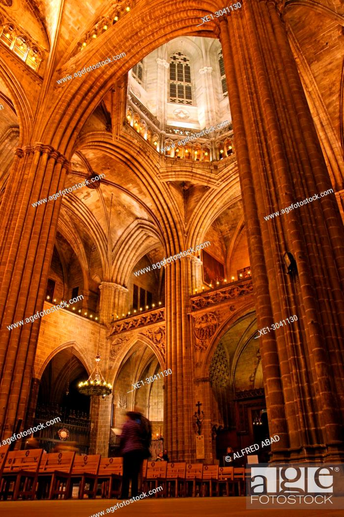 Stock Photo: Cathedral of Santa Eulalia, Cathedral of Barcelona, Catalonia, Spain.