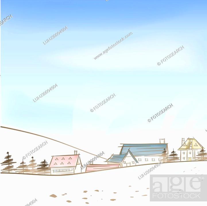Stock Photo: village, season, hill, snow, winter, tree, background.