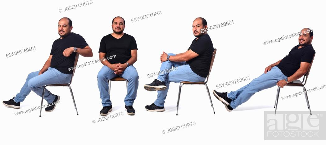 Photo de stock: a man sitting in various ways in a chair.
