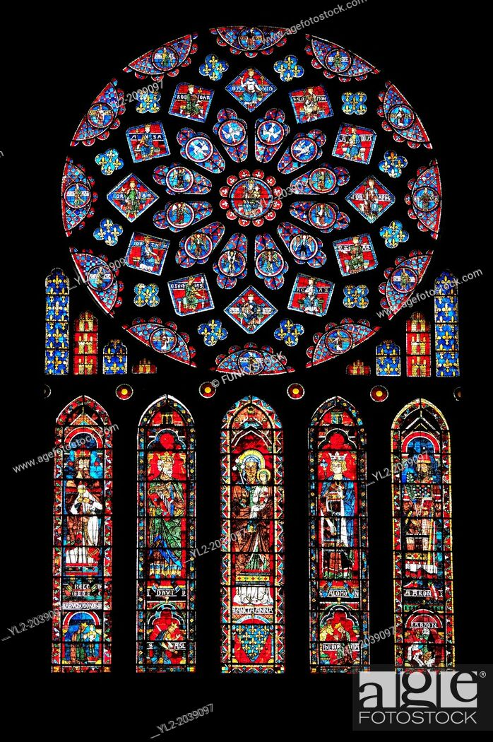 Stock Photo: Medieval Rose Window of the North Transept of the Gothic Cathedral of Chartres, France- Circa 1235. A UNESCO World Heritage Site. The 10.
