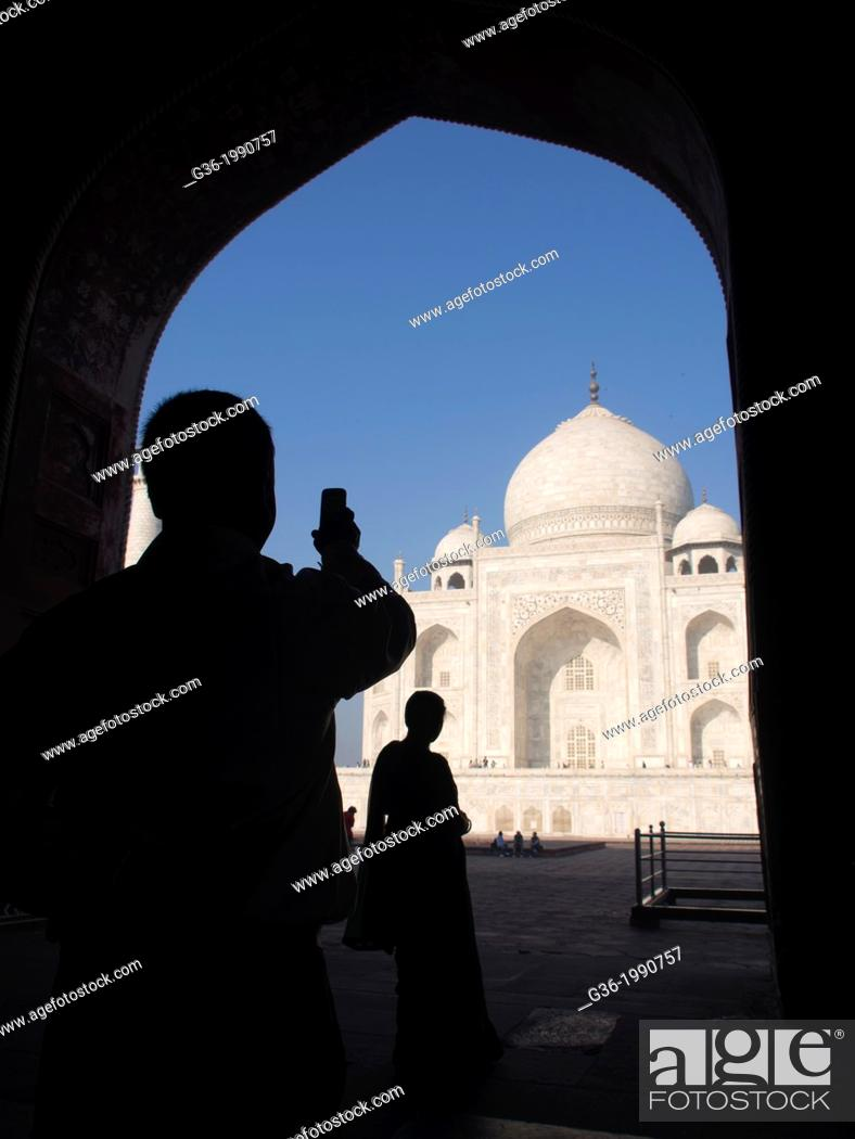 Silhouette Of Tourists At Taj Mahal In Agra Uttar Pradesh