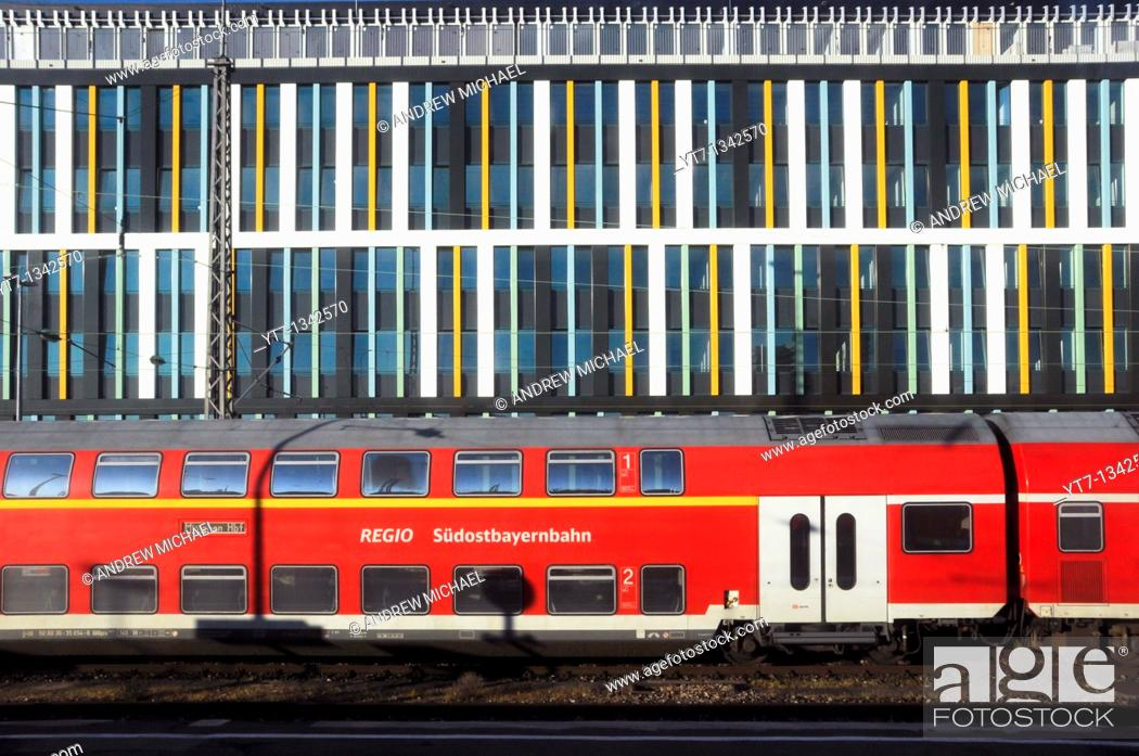 Stock Photo: Train abstract - seen at Munich train station, Germany.