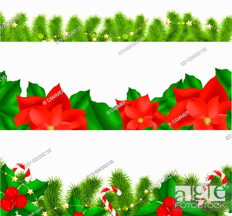 Stock Vector: Borders Fir-tree Branches With Holly Berry Set With Gradient Mesh, Vector Illustration.