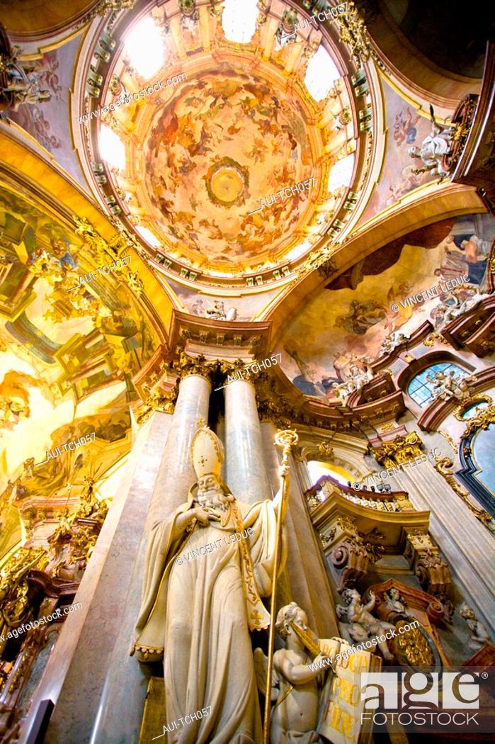 Stock Photo: Czech Republic - Prague - Mala Strana Prague 1 District - Saint-Nicolas de Mala Strana Church.