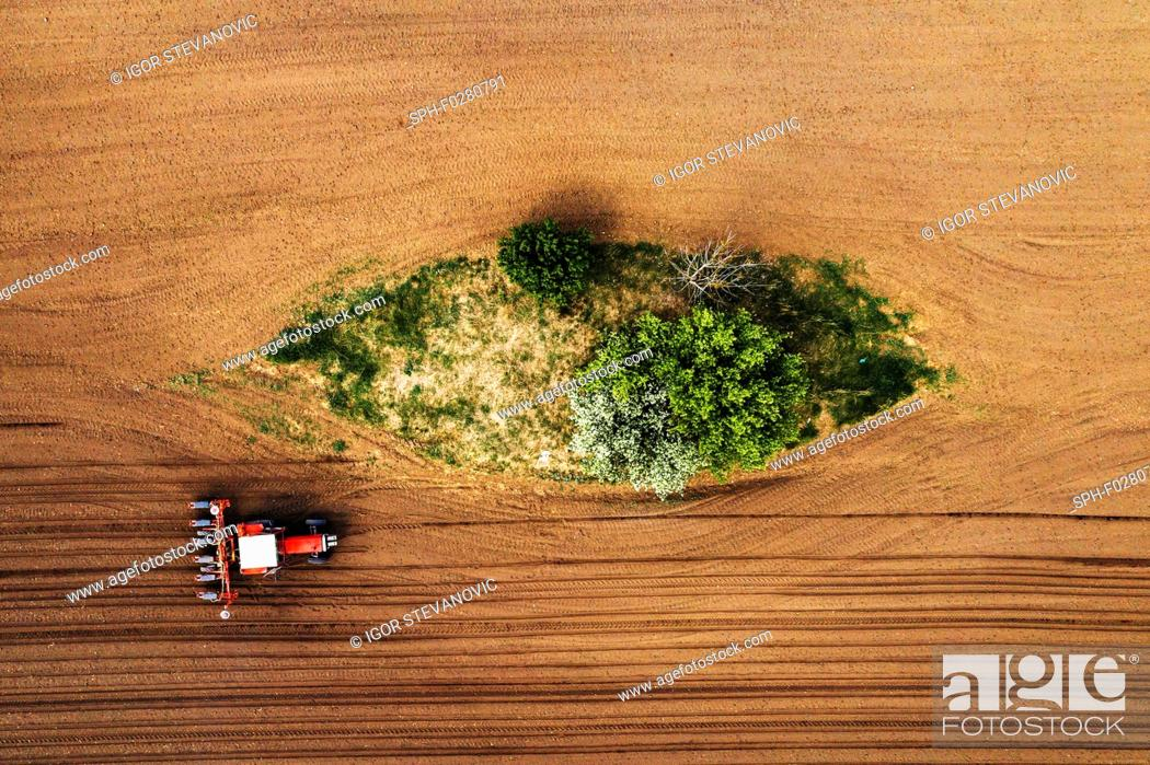 Stock Photo: Aerial view of tractor with seeder.