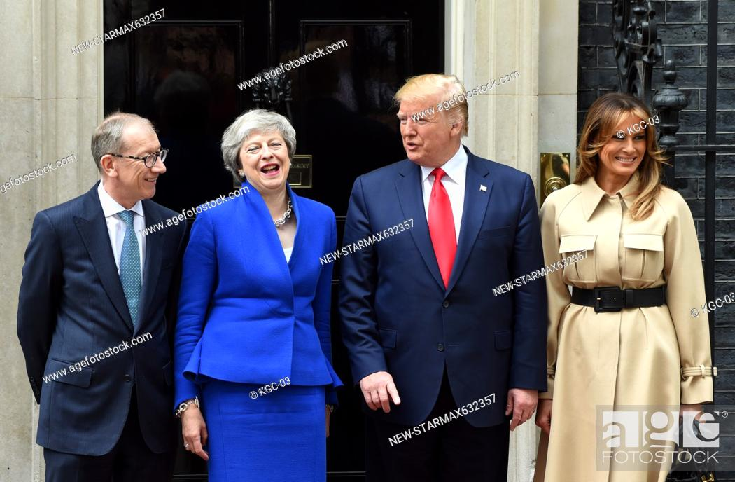 Stock Photo: Photo by: KGC-03/starmaxinc.com.STAR MAX.©2019.ALL RIGHTS RESERVED..6/4/19.President Donald Trump, Melania Trump and Teresa May at Downing Street in London.