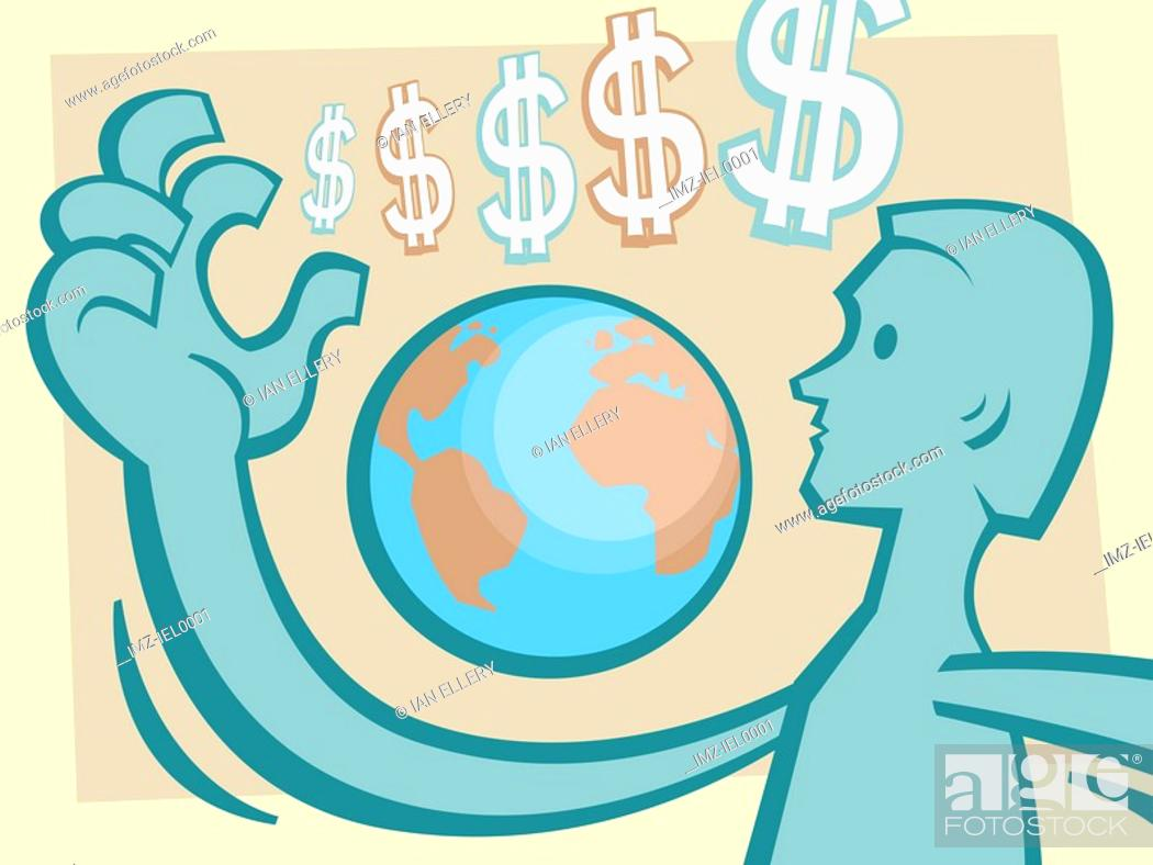 Stock Photo: A graphical illustration combining dollar symbols, a world globe and a mans figure.